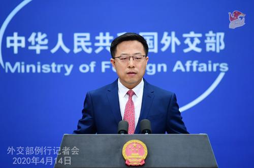 CHINE Conférence de presse PH 6 du 14 avril 2020 tenue par le porte-parole du Ministère des Affaires étrangères Zhao Lijian W020200417343480380906