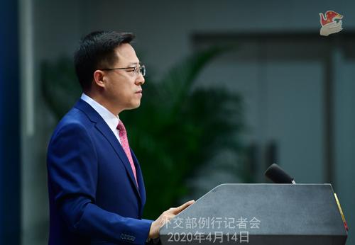CHINE Conférence de presse PH 7 du 14 avril 2020 tenue par le porte-parole du Ministère des Affaires étrangères Zhao Lijian W020200417343480394623