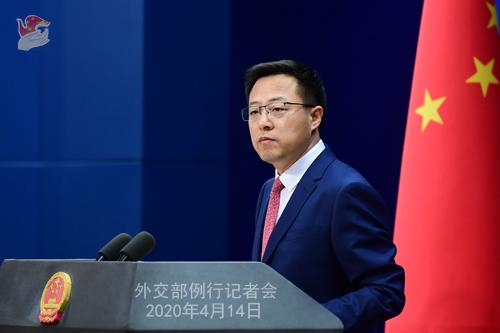 CHINE Conférence de presse PH 8 du 14 avril 2020 tenue par le porte-parole du Ministère des Affaires étrangères Zhao Lijian W020200417343480407706