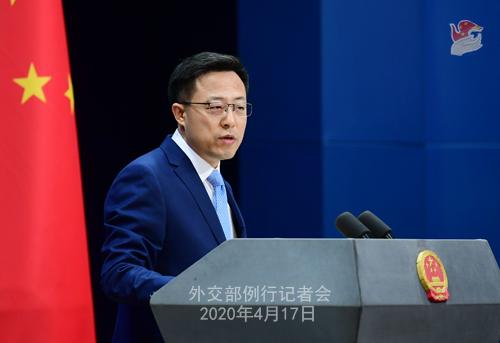 Conférence de presse PH 1 du 17 avril 2020 tenue par le Porte-parole du Ministère des Affaires étrangères Zhao Lijian W020200422348662661072