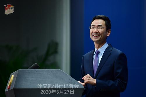 Conférence de presse PH 10 du 27 mars 2020 tenue par le porte-parole du Ministère des Affaires étrangères Geng Shuang W020200401370147980781