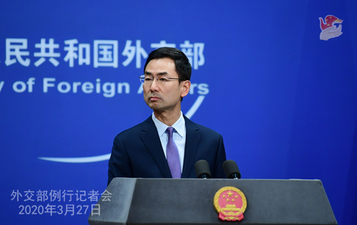 Conférence de presse PH 12 du 27 mars 2020 tenue par le porte-parole du Ministère des Affaires étrangères Geng Shuang W020200401370147991325