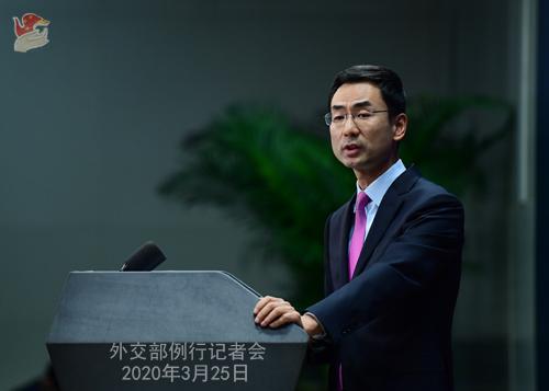 Conférence de presse PH 3 du 25 mars 2020 tenue par le porte-parole du Ministère des Affaires étrangères Geng Shuang W020200329859936020891