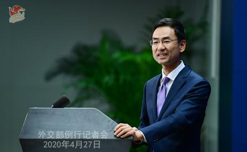 Conférence de presse PH 3 du 27 avril 2020 tenue par le porte-parole du Ministère des Affaires étrangères Geng Shuang W020200427689232024077