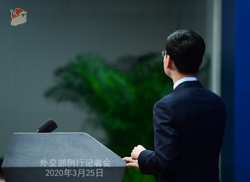 Conférence de presse PH 4 du 25 mars 2020 tenue par le porte-parole du Ministère des Affaires étrangères Geng Shuang W020200329859936036133