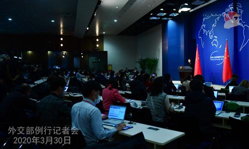 Conférence de presse PH 4 du 30 mars 2020 tenue par la porte-parole du Ministère des Affaires étrangères Hua Chunying W020200401706146425670