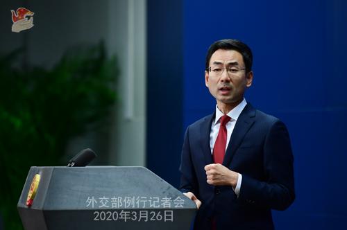 Conférence de presse PH 6 du 26 mars 2020 tenue par le porte-parole du Ministère des Affaires étrangères Geng Shuang W020200329863522987811