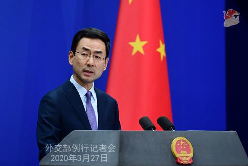 Conférence de presse PH 9 du 27 mars 2020 tenue par le porte-parole du Ministère des Affaires étrangères Geng Shuang W020200401370147974636