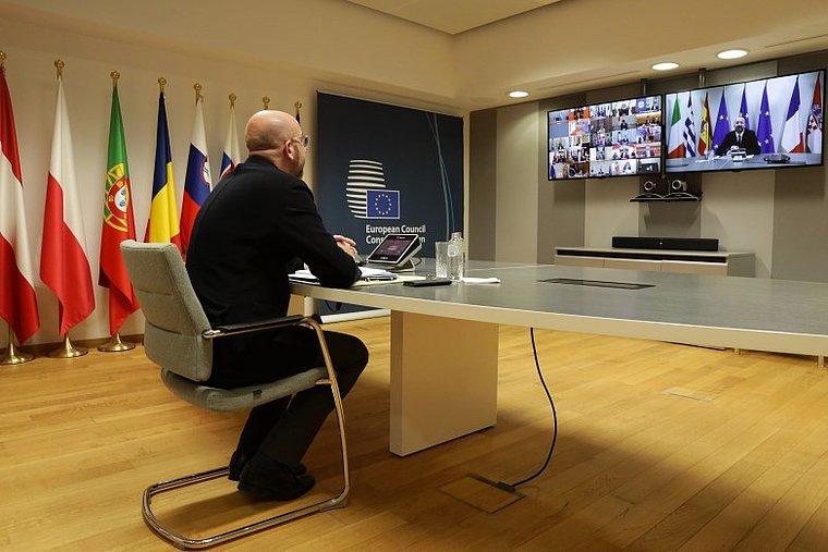 Conseil-europeen-visio-e3a495c9ecUne réunion des chefs d'Etats et de gouvernement s'est tenue le 26 mars en visioconférence, sous la présidence de Charles Michel - Crédits Conseil européen