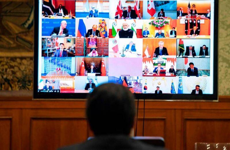 La réunion des ministres des Finances et des gouverneurs de Banques centrales du G20 photo depuis le bureau du Premier ministre italien Giuseppe Conte. Palazzio Chigi Press 183327_194057