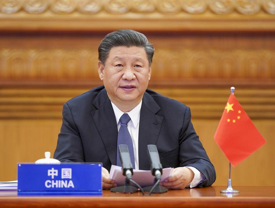 Le président chinois, Xi Jinping, participe au Sommet extraordinaire virtuel des dirigeants du G20 sur le COVID-19 par liaison vidéo, à Beijing,, le 26 mars 2020. (Xinhua Li Xueren)138931445_15855661065841n