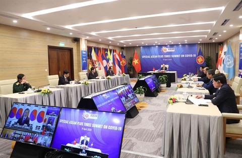 Le Sommet spécial ASEAN + Chine-Japon-République de Corée sur le COVID-19 s'est tenu avec succès le 14 avril. 162423766vna