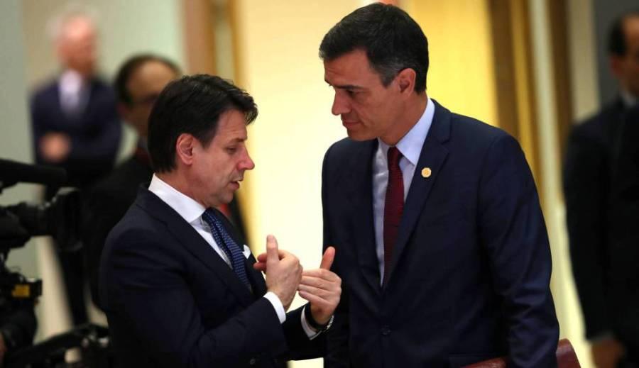 1585290789_579514_1585291480_noticia_normal_recorte1El primer ministro italiano, Giuseppe Conte, habla con el presidente español, Pedro Sánchez, en en mayo