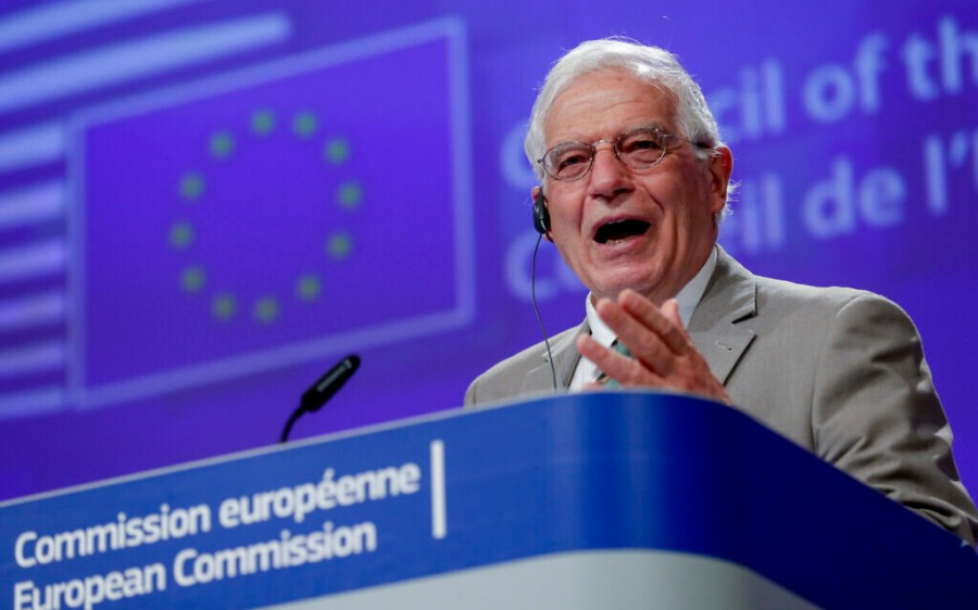 Virus Outbreak Belgium EU Foreign Ministers