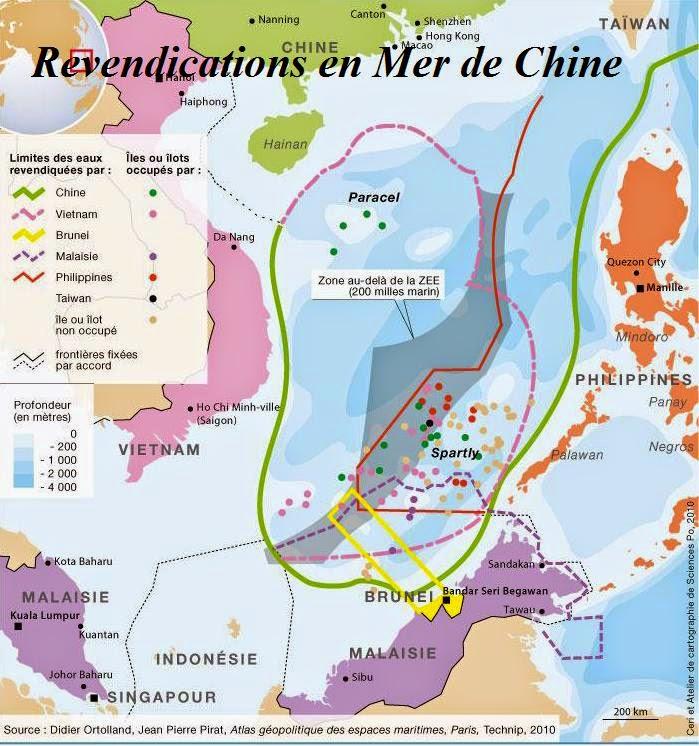 Asie Mer de Chine Chine ZEE Revendications en mer de Chine Philippines Taiwan Brunei Vietnam Malaisie