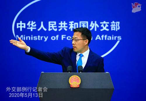 Conférence de presse du 13 mai 2020 PH 1 tenue par le porte-parole du Ministère des Affaires étrangères Zhao Lijian W020200517834726740062