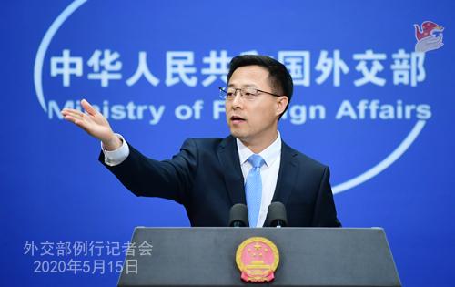 Conférence de presse du 15 mai 2020 PH 8 tenue par le porte-parole du Ministère des Affaires étrangères Zhao Lijian W020200520363617744434