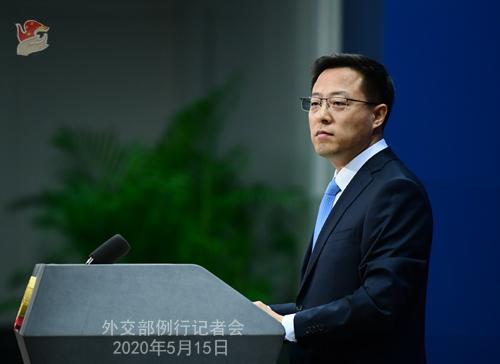 Conférence de presse du 15 mai 2020 PH 9 tenue par le porte-parole du Ministère des Affaires étrangères Zhao Lijian W020200520363617758459