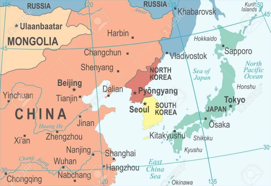 North Korea South Korea Japan China Russia Mongolia Map - Vector Illustration