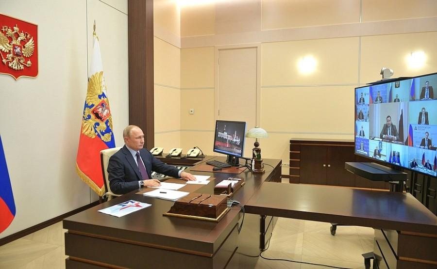 RUSSIE PH 1 SUR 3 LE 06.05.2020 Réunion sur la mise en œuvre de mesures de soutien à l'économie et à la sphère sociale. BAhBICXAzrffb4kAHXqJrB0MvlYfCDIA