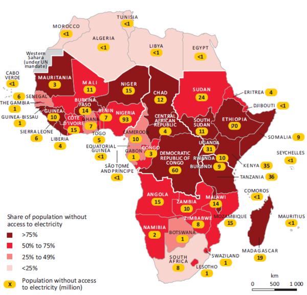 Carte-afrique1 SANS ACCES A L'ELECTRICITE