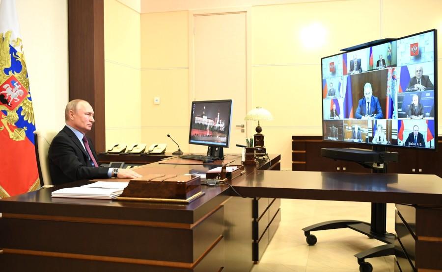 KREMLIN DU 11.O6.2020 PH1 SUR 4 Réunion avec des membres permanents du Conseil de sécurité (par vidéoconférence). XGHKAipK6ECq1JP6mRvO6Jex9MJ8lLDT