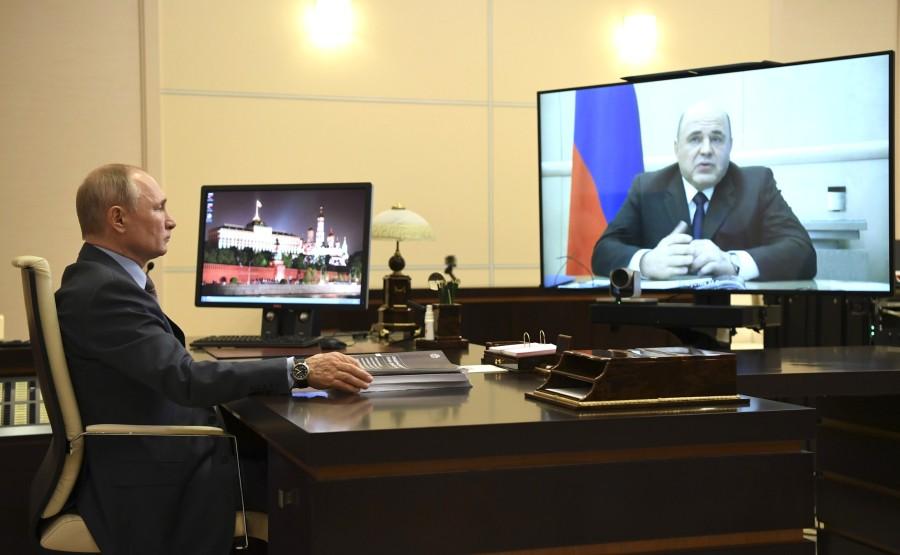 Rencontre 1 SUR 4 02.96.2020 avec le Premier ministre Mikhail Mishustin (par vidéoconférence). VrCygyfALfycqKYN1AE7UeH0vLlD70aR
