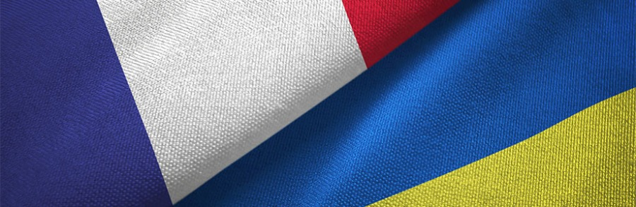 France and Ukraine two flags textile cloth, fabric texture