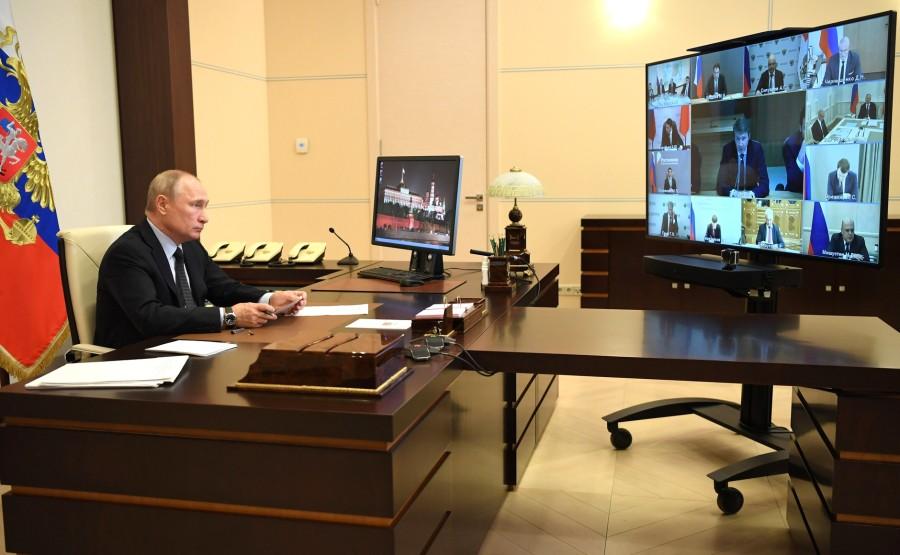 RUSSIE 10 JUIN 2020 1SUR 4 Lors d'une réunion (par vidéoconférence) sur le développement des technologies de l'information et des communications. 3940kju57xrJTb786KDkuE0aBao9gtyS