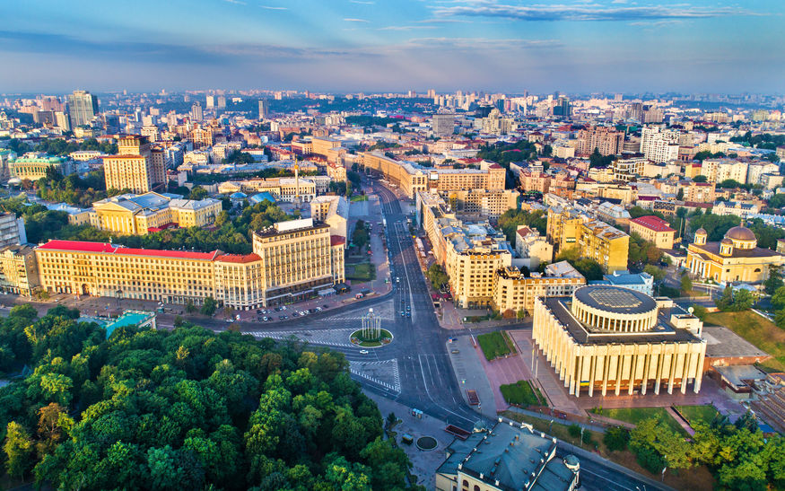 Aerial view of Khreshchatyk, European Square and Ukrainian House in the city centre of Kiev