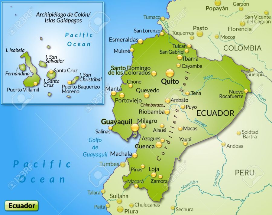Map of ecuador as an overview map in green