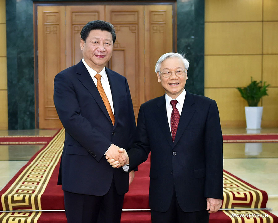 Président Chinois Xi Jinping et Président vietnamien Nguyen Phu Trongon bc305bb3be2a17a6739e25