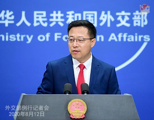 CFP 1 Conférence de presse du 12 août 2020 tenue par le porte-parole du Ministère des Affaires étrangères Zhao Lijian W020200817358967014820