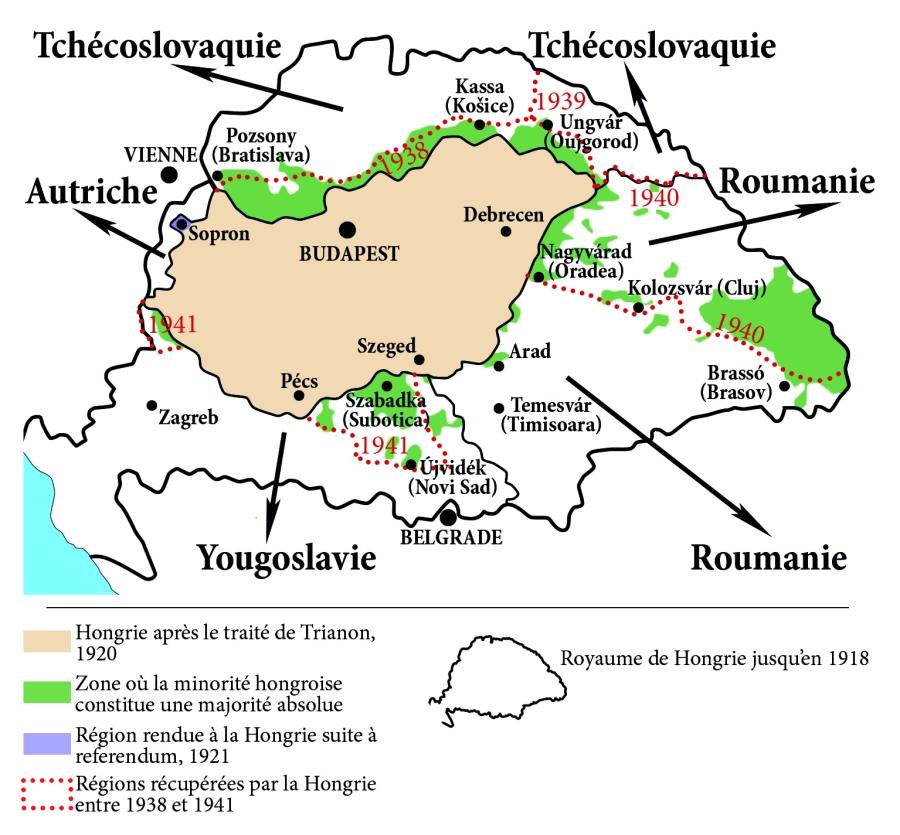 HONGRIE Carte résumant le découpage de la Hongrie lors du traité de Trianon. Par Nicolas de Lamberterie. Carte-NRH-2