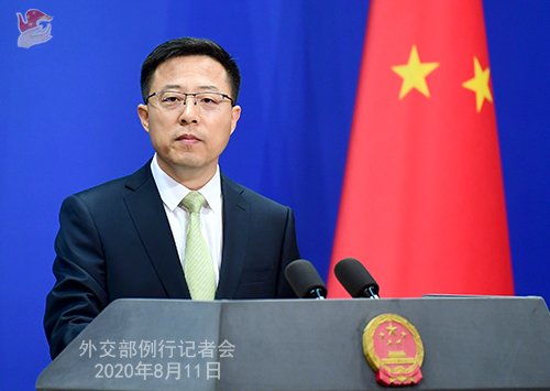 PH 2 Conférence de presse du 11 août 2020 tenue par le Porte-parole du Ministère des Affaires étrangères Zhao Lijian W020200817383667922325