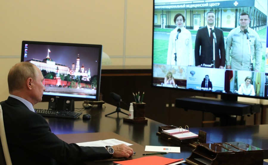 KREMLIN 3 SUR 3 DU 15.09.2020 Ouverture de centres médicaux polyvalents dans la région de Pskov (par vidéoconférence). LBDFXWIy9iUkbfr3YJMJyyQyvkAzsaN1