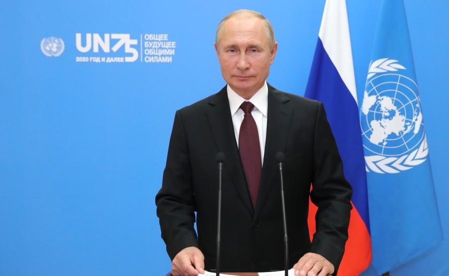 KREMLIN PH 1 X 6 DU 22.09.2020 Vladimir Poutine a prononcé un discours vidéo préenregistré à la session du 75e anniversaire de l'Assemblée générale des Nations Unies. MU0QiijntG9LVHjaEc0vrxyAgXG2CRi3