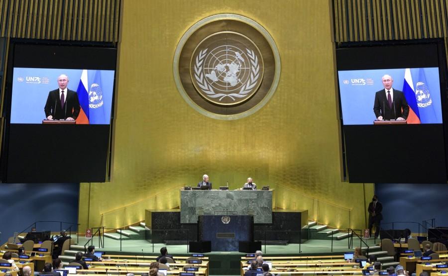 KREMLIN PH 2 X 6 DU 22.09.2020 Vladimir Poutine a prononcé un discours vidéo préenregistré à la session du 75e anniversaire de l'Assemblée générale des Nations Unies. RV8ojHrR75aNW09ijb8hq8AwdOXRAPIK