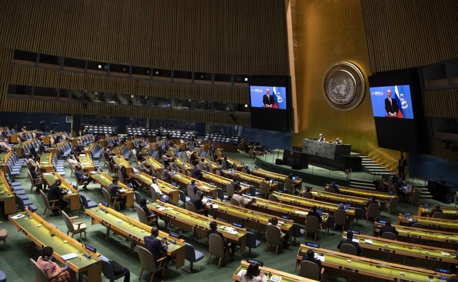 KREMLIN PH 4 X 6 DU 22.09.2020 Vladimir Poutine a prononcé un discours vidéo préenregistré à la session du 75e anniversaire de l'Assemblée générale des Nations Unies. QgtKN7jqxbwIoLgR7WEXWZgd6h7AwghA