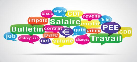 nuage de mots bulles : salaire travail