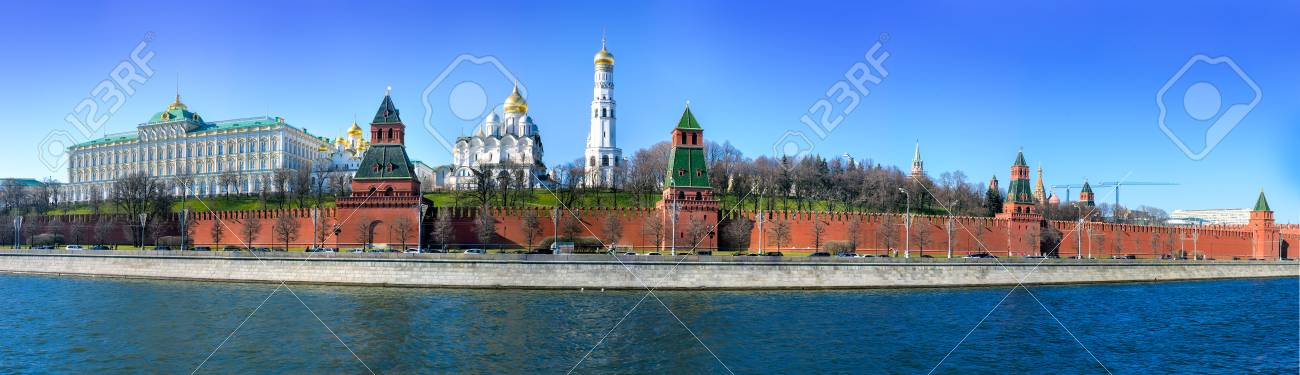 panoramic view of Moscow Kremlin and Moscow river, Russia