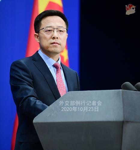 CHINE LIJIAN PH 2 Conférence de presse du 23 octobre 2020 tenue par le porte-parole du Ministère des Affaires étrangères Zhao Lijian