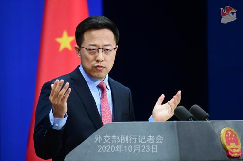 CHINE LIJIAN PH 3 Conférence de presse du 23 octobre 2020 tenue par le porte-parole du Ministère des Affaires étrangères Zhao Lijian