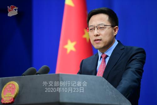 CHINE LIJIAN PH 4 Conférence de presse du 23 octobre 2020 tenue par le porte-parole du Ministère des Affaires étrangères Zhao Lijian