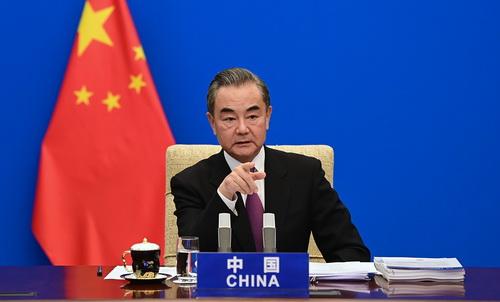 CHINE PH 1 Le Conseiller d'Etat et Ministre des Affaires étrangères Wang Yi de haut niveau sur la réduction de la pauvreté et la coopération Sud-Sud et prononce un discours du 29.09.2020