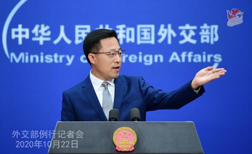 CHINE ZHAO PH 1 Conférence de presse du 22 octobre 2020 tenue par le porte-parole du Ministère des Affaires étrangères Zhao Lijian