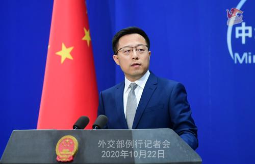 CHINE ZHAO PH 3 Conférence de presse du 22 octobre 2020 tenue par le porte-parole du Ministère des Affaires étrangères Zhao Lijian