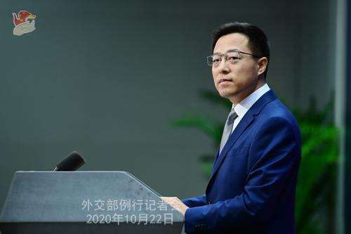 CHINE ZHAO PH 4 Conférence de presse du 22 octobre 2020 tenue par le porte-parole du Ministère des Affaires étrangères Zhao Lijian