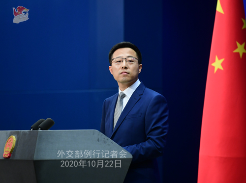 CHINE ZHAO PH 6 Conférence de presse du 22 octobre 2020 tenue par le porte-parole du Ministère des Affaires étrangères Zhao Lijian