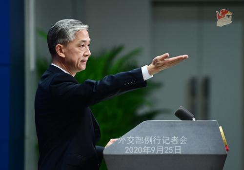 Conférence n° 3 de presse du 25 septembre 2020 tenue par le Porte-parole du Ministère des Affaires étrangères Wang Wenbin